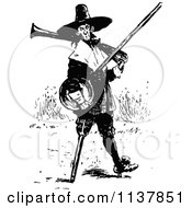 Clipart Of A Retro Vintage Black And White Amputee With A Peg Leg Royalty Free Vector Illustration