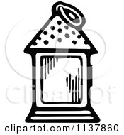 Clipart Of A Retro Vintage Black And White Lantern Royalty Free Vector Illustration