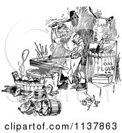 Clipart Of A Retro Vintage Black And White Royalty Free Vector Illustration