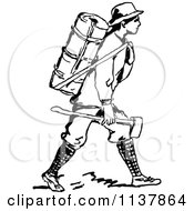 Clipart Of A Retro Vintage Black And White Man With A Backpack And Axe Royalty Free Vector Illustration