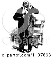 Clipart Of A Retro Vintage Black And White Man Drying His Eyes Royalty Free Vector Illustration by Prawny Vintage