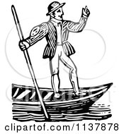 Clipart Of A Retro Vintage Black And White Gondolier Man Royalty Free Vector Illustration