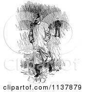 Clipart Of A Retro Vintage Black And White Man Walking In Rain Royalty Free Vector Illustration by Prawny Vintage