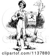 Clipart Of A Retro Vintage Black And White Man Holding A Reward Poster Royalty Free Vector Illustration