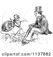 Clipart Of A Retro Vintage Black And White Ant Talking To A Man Royalty Free Vector Illustration by Prawny Vintage