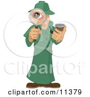 Male Private Investigator Spy In A Green Trench Coat Smoking A Tobacco Pipe And Looking Through A Magnifying Glass