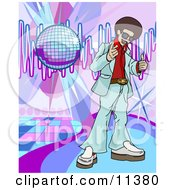 Funkster Man With An Afro Standing On A Dance Floor Under A Disco Ball In A Club Clipart Illustration
