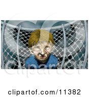 Miserable Little Boy By A Chainlink Fence On A Playground On A Stormy Day Clipart Illustration