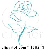 Clipart Of A Beautiful Single Blue Rose Royalty Free Vector Illustration by Vitmary Rodriguez #COLLC1138243-0040