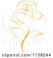 Clipart Of A Beautiful Single Gold Rose Royalty Free Vector Illustration by Vitmary Rodriguez