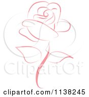 Clipart Of A Beautiful Single Pink Rose Royalty Free Vector Illustration