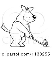 Cartoon Clipart Of An Outlined Golfing Wolf Holding The Club Against The Ball On The Tee Black And White Vector Coloring Page by Cory Thoman