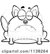 Cartoon Clipart Of An Outlined Chubby Sad Wolf Black And White Vector Coloring Page