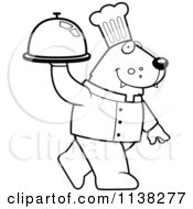 Cartoon Clipart Of An Outlined Wolf Chef Walking With A Platter Black And White Vector Coloring Page