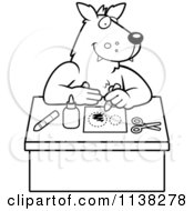 Cartoon Clipart Of An Outlined Arts And Crafts Wolf Black And White Vector Coloring Page by Cory Thoman