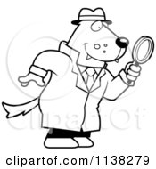 Cartoon Clipart Of An Outlined Wolf Detective Using A Magnifying Glass Black And White Vector Coloring Page