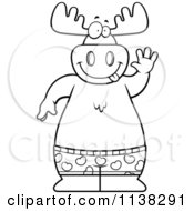 Cartoon Clipart Of An Outlined Happy Moose Waving And Wearing Boxers Black And White Vector Coloring Page by Cory Thoman