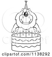 Cartoon Clipart Of An Outlined Lion Making A Wish Over Candles On A Birthday Cake Black And White Vector Coloring Page