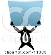 Silhouetted Business Man Holding Up A Blank Sign Clipart Illustration