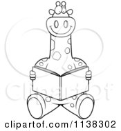 Cartoon Clipart Of An Outlined Giraffe Sitting And Reading Black And White Vector Coloring Page by Cory Thoman