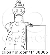 Cartoon Clipart Of An Outlined Giraffe Leaning On A Sign Black And White Vector Coloring Page by Cory Thoman