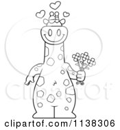 Cartoon Clipart Of An Outlined Amorous Giraffe Holding Flowers Black And White Vector Coloring Page by Cory Thoman