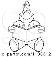 Cartoon Clipart Of An Outlined Phoenix Bird Reading Black And White Vector Coloring Page
