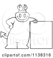 Cartoon Clipart Of An Outlined Big Devil Leaning By A Sign Black And White Vector Coloring Page
