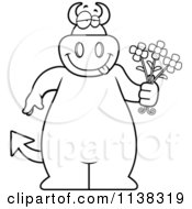 Cartoon Clipart Of An Outlined Big Devil Holding Flowers Black And White Vector Coloring Page