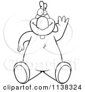 Cartoon Clipart Of An Outlined Chicken Sitting And Waving Black And White Vector Coloring Page