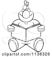 Cartoon Clipart Of An Outlined Chicken Sitting And Reading Black And White Vector Coloring Page