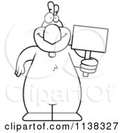 Cartoon Clipart Of An Outlined Chicken Holding A Sign Black And White Vector Coloring Page