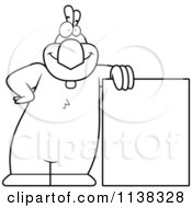 Cartoon Clipart Of An Outlined Chicken Leaning On A Sign Black And White Vector Coloring Page