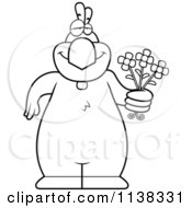 Cartoon Clipart Of An Outlined Chicken Holding Flowers Black And White Vector Coloring Page