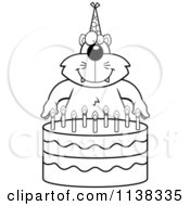 Cartoon Clipart Of An Outlined Cat Making A Wish Over Candles On A Birthday Cake Black And White Vector Coloring Page