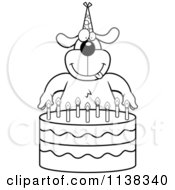 Cartoon Clipart Of An Outlined Dog Making A Wish Over Candles On A Birthday Cake Black And White Vector Coloring Page