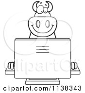 Cartoon Clipart Of An Outlined Big Devil Using A Computer Black And White Vector Coloring Page