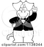 Cartoon Clipart Of An Outlined Triceratops With An Idea Wearing A Tuxedo Black And White Vector Coloring Page