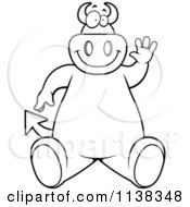 Cartoon Clipart Of An Outlined Big Devil Sitting And Waving Black And White Vector Coloring Page