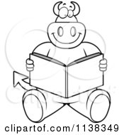 Cartoon Clipart Of An Outlined Big Devil Sitting And Reading Black And White Vector Coloring Page
