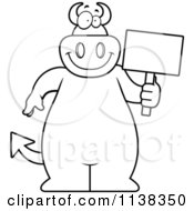 Cartoon Clipart Of An Outlined Big Devil Holding A Sign Black And White Vector Coloring Page