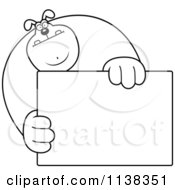 Cartoon Clipart Of An Outlined Buff Dog Holding A Sign Black And White Vector Coloring Page