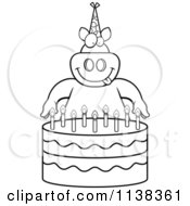 Cartoon Clipart Of An Outlined Pig Making A Wish Over Candles On A Birthday Cake Black And White Vector Coloring Page by Cory Thoman