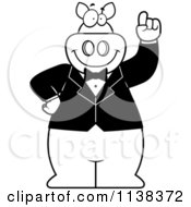 Cartoon Clipart Of An Outlined Pig With An Idea Wearing A Tux Black And White Vector Coloring Page