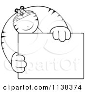 Cartoon Clipart Of An Outlined Buff Tiger Holding A Blank Sign 1 Black And White Vector Coloring Page