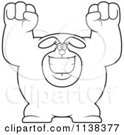 Cartoon Clipart Of An Outlined Excited Buff Rabbit Cheering Black And White Vector Coloring Page