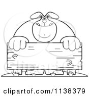 Cartoon Clipart Of An Outlined Buff Rabbit Behind A Wooden Sign Black And White Vector Coloring Page