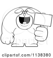 Cartoon Clipart Of An Outlined Buff Rabbit Holding A Sign 2 Black And White Vector Coloring Page