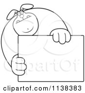 Cartoon Clipart Of An Outlined Buff Rabbit Holding A Sign 1 Black And White Vector Coloring Page