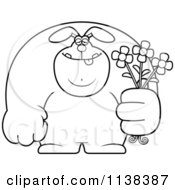 Cartoon Clipart Of An Outlined Buff Rabbit Holding Flowers Black And White Vector Coloring Page